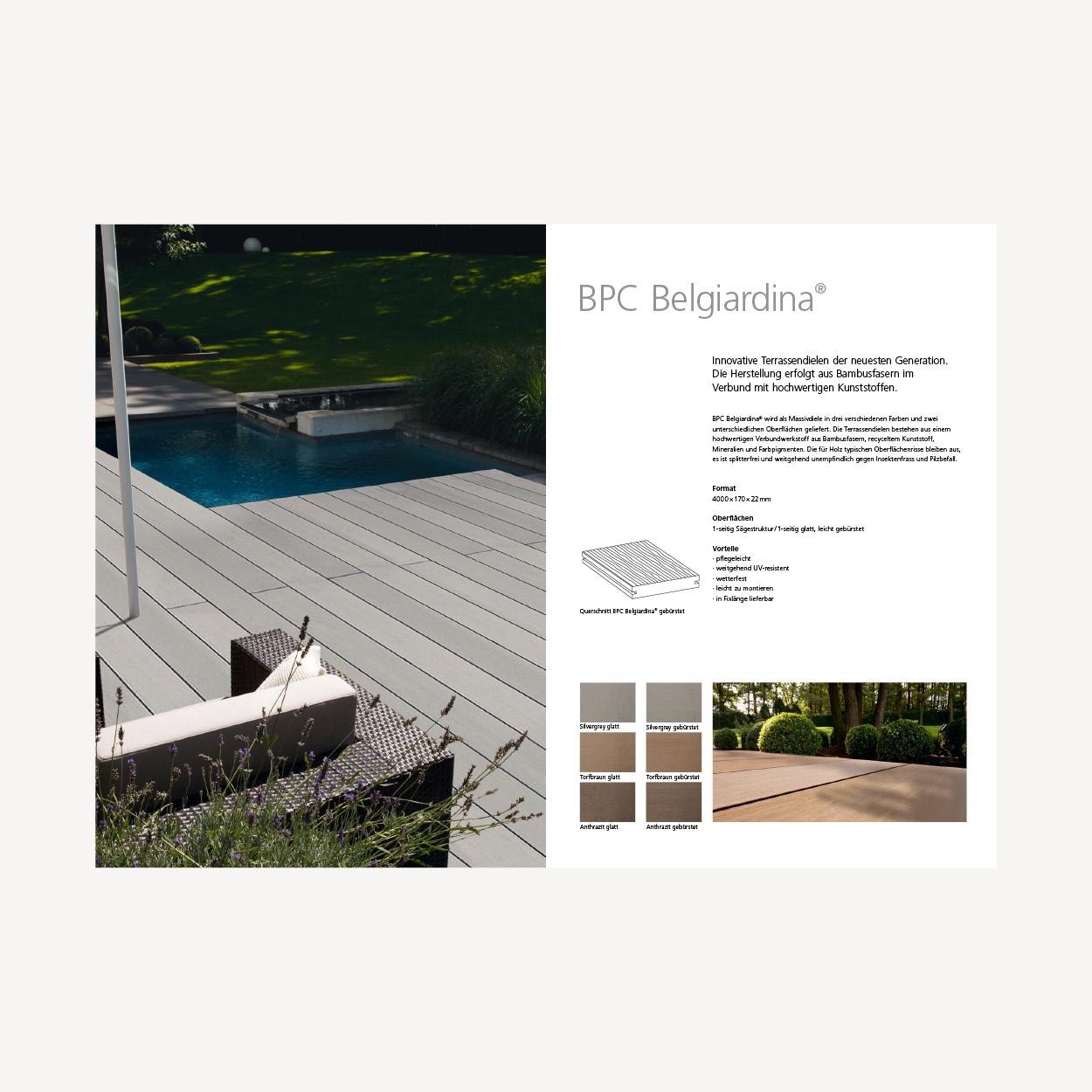 Belcolor Belgiardina – Neulancierung Outdoor Broschüre. Konzeption. Gestaltung. Umsetzung. Bildbearbeitung. Illustrationen. Corporate Design.