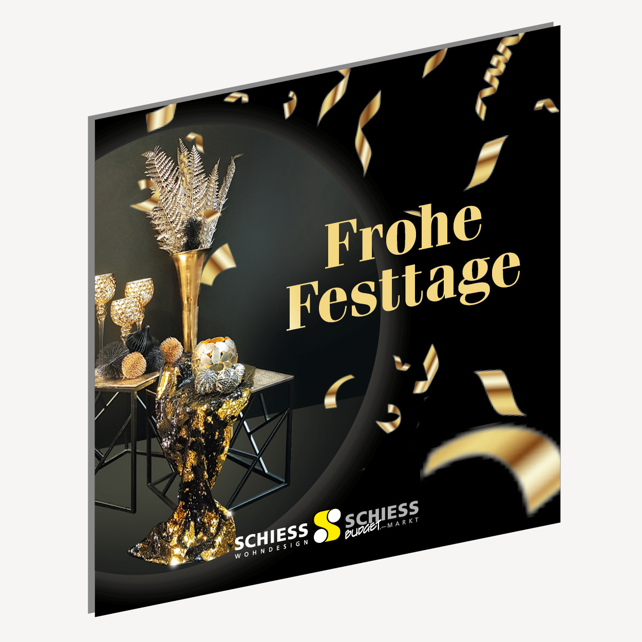 Schiess Wohndesign Weihnachtsevent – Motivierende Inspirationen zu Weihnachten. Idee. Konzeption. Gestaltung. Fotografie. Bildbearbeitung. Corporate Design. Mailing. POS. Plakat. Social Media. PR. Gesamtkommunikation. Adaption auf diverse Kommunikationsmittel.