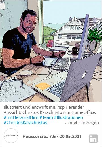 Illustriert Und Entwirft Mit Inspirierender Aussicht. Christos Karachristos Im HomeOffice. Mit Herz Und Hirn. Ihr Heussercrea-Team. #Heussercrea #mitHerzundHirn #Agentur #Team #Illustrationen #ChristosKarachristos